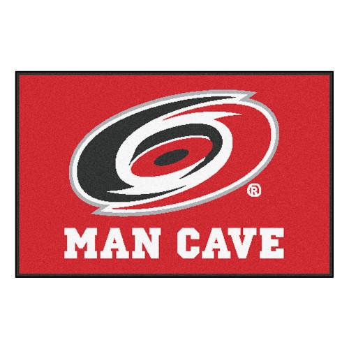 "19"" x 30"" Red and White NHL Carolina Hurricanes Man Cave Starter Rectangular Mat Area Rug - IMAGE 1"