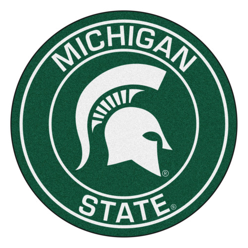 """27"""" Green and White NCAA Michigan State University Spartans Rounded Door Mat - IMAGE 1"""