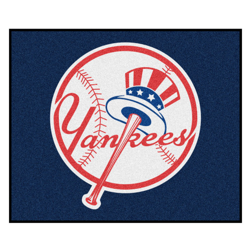 5' x 6' Blue and White Contemporary MLB New York Yankees Rectangular Outdoor Area Rug - IMAGE 1
