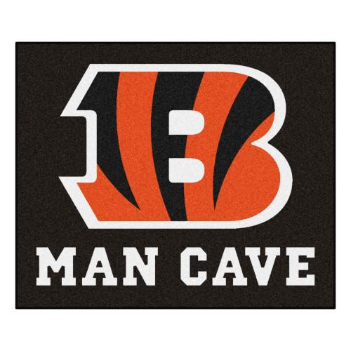 "59.5"" x 71"" Black and Red NFL Cincinnati Bengals ""Man Cave"" Tailgater Area Rug - IMAGE 1"