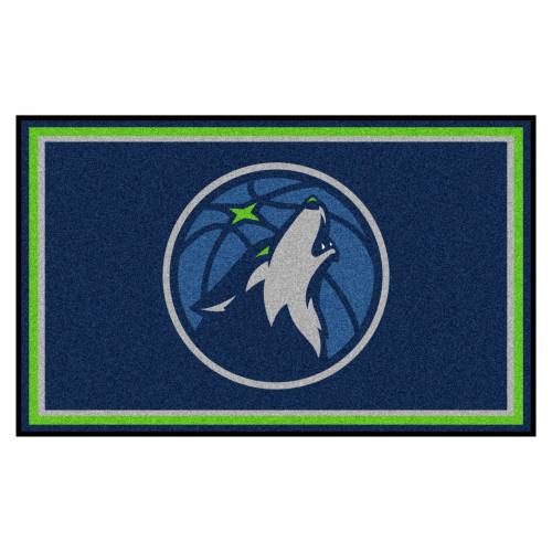 3.6' x 5.9' Blue and Green NBA Minnesota Timberwolves Ultra Plush Rectangular Area Rug - IMAGE 1