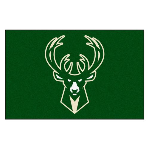"19"" x 30"" Green and White NBA Bucks Starter Mat Rectangular Area Rug - IMAGE 1"