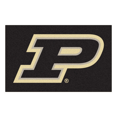 3.6' x 5.9' Black and Beige NCAA Purdue University Boilermakers Plush Non-Skid Area Rug - IMAGE 1