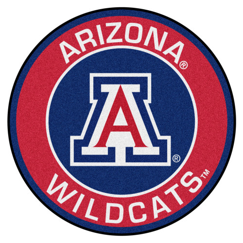 """27"""" Red and Blue NCAA University of Arizona Wildcats Rounded Non-Skid Mat Area Rug - IMAGE 1"""