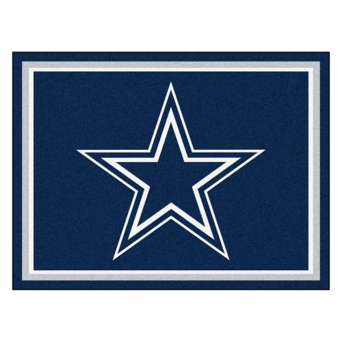 7.25' x 9.75' Blue and White NFL Dallas Cowboys Plush Non-Skid Area Rug - IMAGE 1