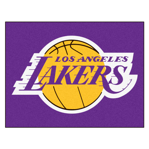 """33.75"""" x 42.5"""" Purple and Gold NBA Los Angeles Lakers Rectangular All-Star Mat Outdoor Area Rug - IMAGE 1"""
