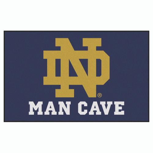 4.9' x 7.8' Navy Blue and White NCAA Notre Dame Fighting Irish Man Cave Rectangular Area Rug - IMAGE 1