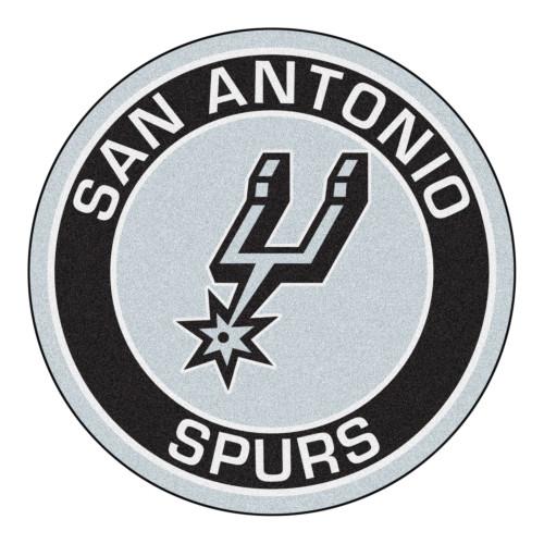 "27"" Gray and Black NBA San Antonio Spurs Rounded Door Mat - IMAGE 1"