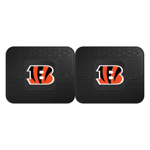 """Set of 2 Black NFL Cincinnati Bengals Heavy Duty Rear Car Floor Mats 14"""" x 17"""" - IMAGE 1"""