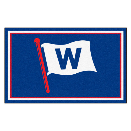 3.6' x 5.9' Blue and White MLB Chicago Cubs Rectangular Plush Area Rug - IMAGE 1