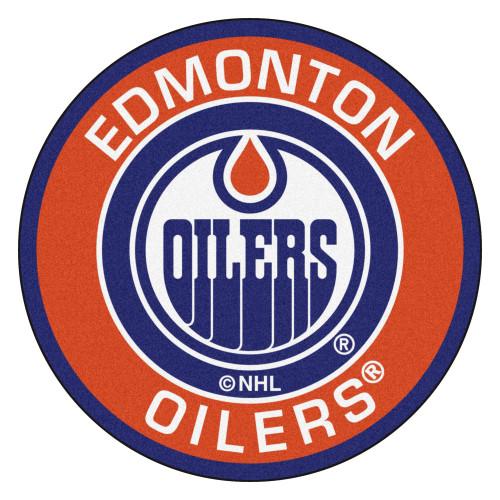 "27"" Orange and Blue NHL Edmonton Oilers Rounded Door Mat - IMAGE 1"
