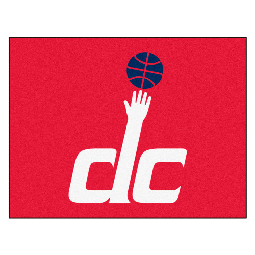 """33.75"""" x 42.5"""" Red and White NBA Washington Wizards Rectangular All-Star Mat Outdoor Area Rug - IMAGE 1"""