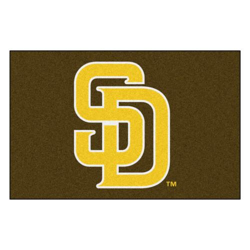 "19"" x 30"" Green and Yellow MLB San Diego Padres Starter Mat Rectangular Area Rug - IMAGE 1"