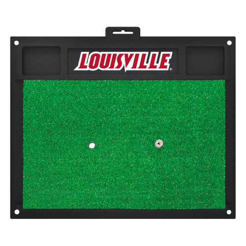 """20"""" x 17"""" Black and Green NCAA University of """"Louisville"""" Golf Hitting Mat Practice Accessory - IMAGE 1"""