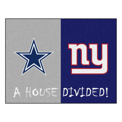 """33.75"""" x 42.5"""" Gray NFL Cowboys and Giants House Divided Rectangular Welcome Door Mat - IMAGE 1"""