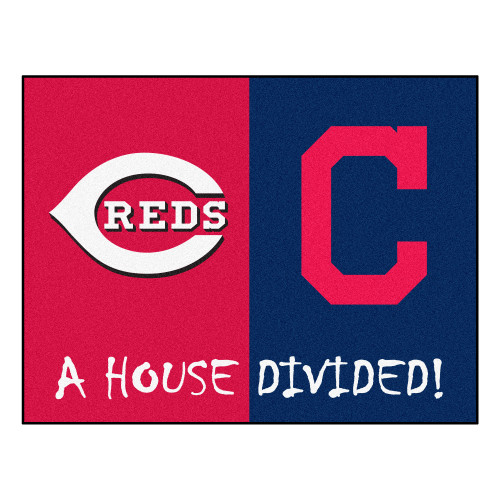 """33.75""""x 42.5"""" Red MLB House Divided Reds and Indians Non-Skid Mat Rectangular Area Rug - IMAGE 1"""