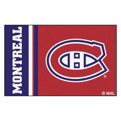 """19"""" x 30"""" Red and Blue NHL Montreal Canadiens Starter Mat Area Rug - IMAGE 1"""