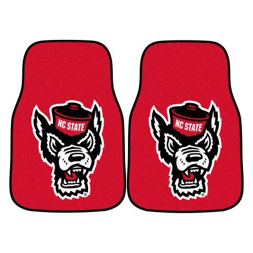 "2pc Red and White NCAA North Carolina State University Wolfpack Carpet Car Mat Set 17"" x 27"" - IMAGE 1"