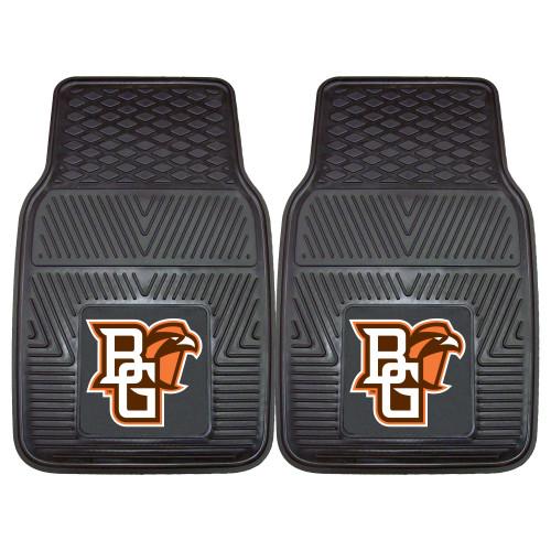 "Set of 2 Black NCAA Bowling State University Falcons Car Mats 17"" x 27"" - IMAGE 1"