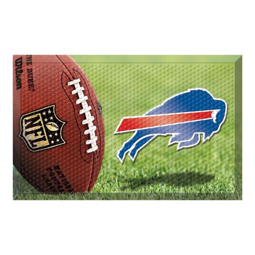 """19"""" x 30"""" Brown and Blue NFL Buffalo Bills Shoe Scraper Door Mat - IMAGE 1"""