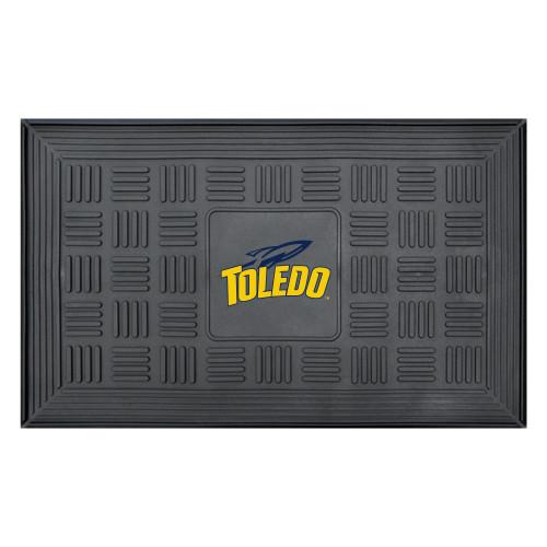 "19.5"" x 31.25"" Black and Yellow NCAA University of Toledo Rockets 3-D Team Medallion Door Mat - IMAGE 1"