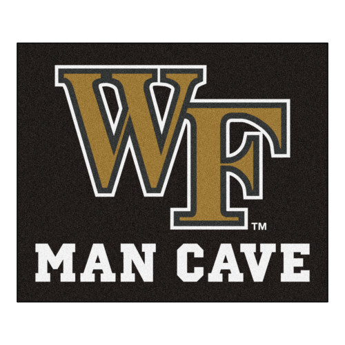 """59.5"""" x 71"""" Black and Yellow NCAA Wake Forest University Demon Deacons Outdoor Tailgater Area Rug - IMAGE 1"""