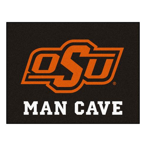 2.8' x 3.5' Black NCAA Oklahoma State University Cowboys Man Cave All Star Rectangular Area Rug - IMAGE 1