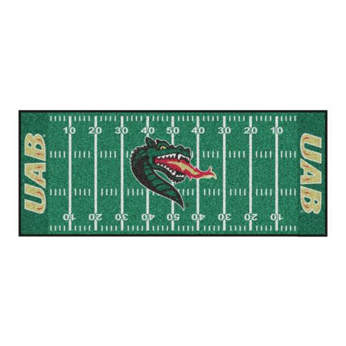"30"" x 72"" Green and Red NCAA University of Alabama at Birmingham Blazers Football Area Rug Runner - IMAGE 1"