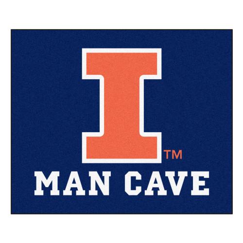 4.9' x 5.9' Blue NCAA University of Illinois Fighting Illini Man Cave Tailgater Rectangular Area Rug - IMAGE 1