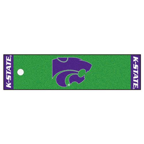 "18"" x 75"" Blue and Green NCAA Kansas State Mat Area Rug Runner - IMAGE 1"