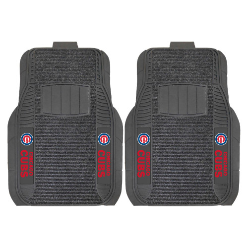 """Set of 2 Black and Red MLB Chicago Cubs Deluxe Car Mats 21"""" x 27"""" - IMAGE 1"""