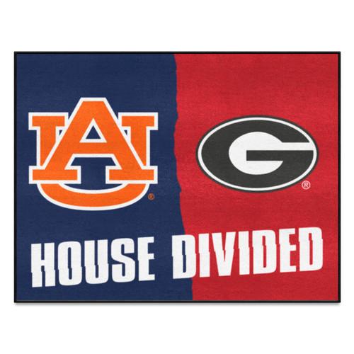 "33.75"" x 42.5"" Blue and Orange NCAA House Divided Non-Skid Rectangular Door Mat - IMAGE 1"