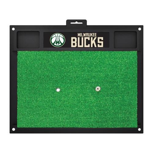 "20"" x 17"" Green NBA Milwaukee Bucks Golf Hitting Practice Mat - IMAGE 1"