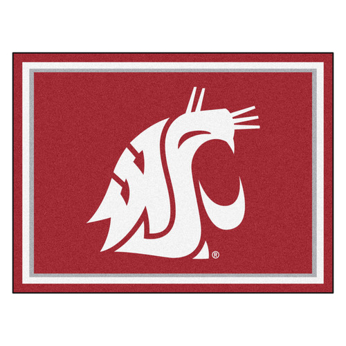 7.25' x 9.75' Red and White NCAA Washington State University Cougars Plush Non-Skid Area Rug - IMAGE 1