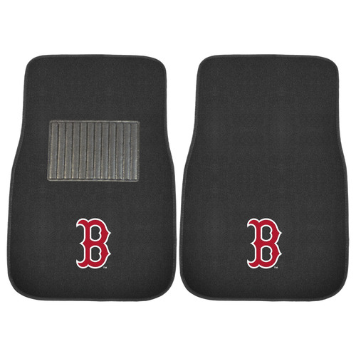 """Set of 2 Red and Black MLB Boston Red Sox Embroidered Car Mats 17"""" x 25.5"""" - IMAGE 1"""