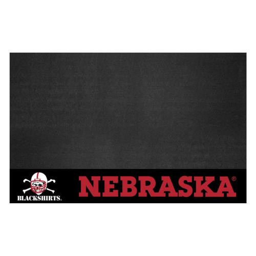 "26"" x 42"" Black and Red NCAA University of Nebraska ""Blackshirts"" Cornhuskers Outdoor Grill Mat - IMAGE 1"