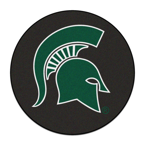"27"" Black and Green NCAA Michigan State University Spartans Puck Door Mat - IMAGE 1"