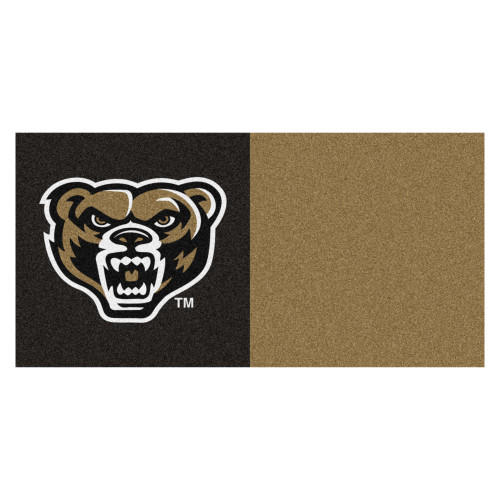 20pc Brown and Black NCAA Oakland University Golden Grizzlies Team Carpet Tiles - IMAGE 1