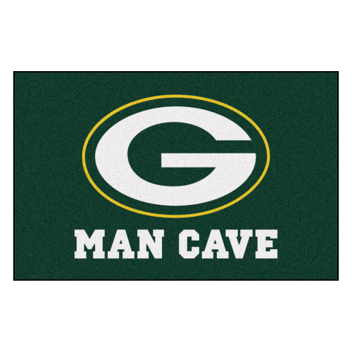 """19"""" x 30"""" Green and White NFL Bay Packers """"Man Cave"""" Starter Door Mat - IMAGE 1"""