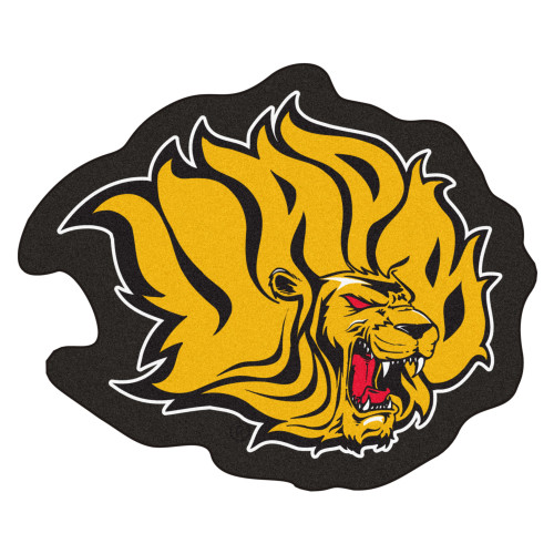 "36.4"" x 30"" Gold and Red NCAA Pine Bluff Lions Mascot Logo Area Rug - IMAGE 1"