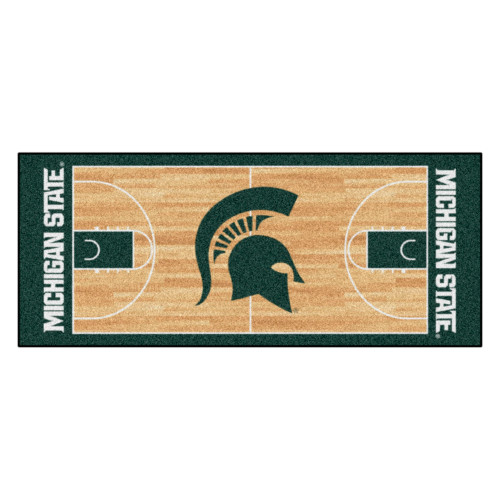"""30"""" x 72"""" Green and Beige NCAA Michigan State University Spartans NCAA Basketball Rug Runner - IMAGE 1"""