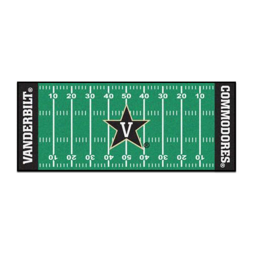 "30"" x 72"" Black and Green NCAA Vanderbilt University Commodores Football Field Mat Area Rug Runner - IMAGE 1"