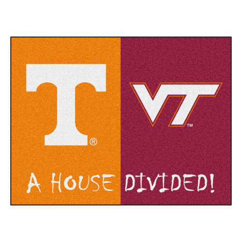 """33.75"""" x 42.5"""" Yellow and Red NCAA House Divided Non-Skid Mat Rectangular Area Rug - IMAGE 1"""