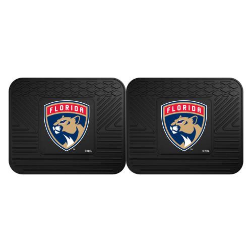 "Set of 2 Black NHL Florida Panthers Heavy Duty Rear Car Floor Mats 14"" x 17"" - IMAGE 1"