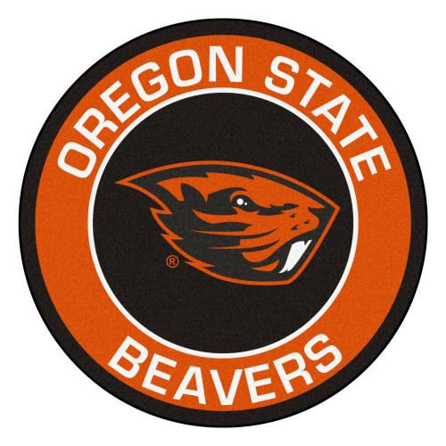 "27"" Orange and Brown NCAA Oregon State University Beavers Rounded Door Mat - IMAGE 1"