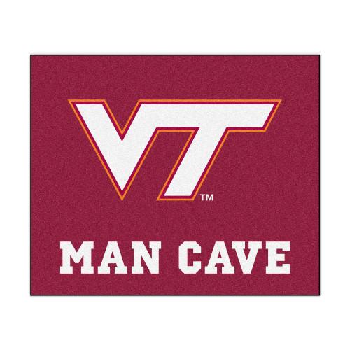 "59.5"" x 71"" Pink and White NCAA Virginia Tech Hokies Rectangular Mat Area Rug - IMAGE 1"