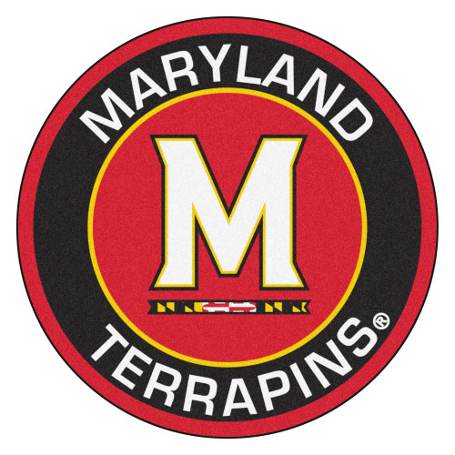 """27"""" Red and Black NCAA University of Maryland Terps Rounded Door Mat - IMAGE 1"""