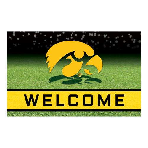 "18"" x 30"" Green and Yellow Contemporary NCAA Hawkeyes Outdoor Door Mat - IMAGE 1"