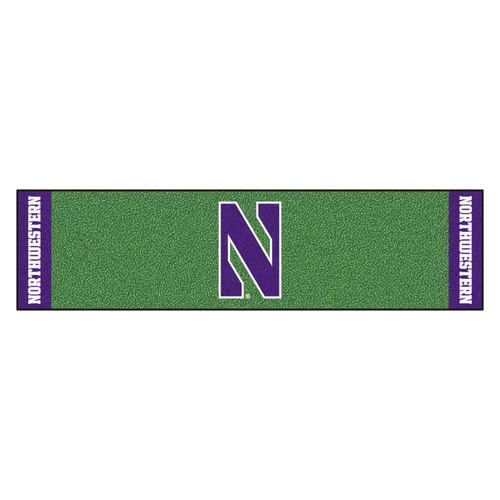 "18"" x 72"" Green and Purple NCAA Northwestern University Demons Putting Golf Mat - IMAGE 1"
