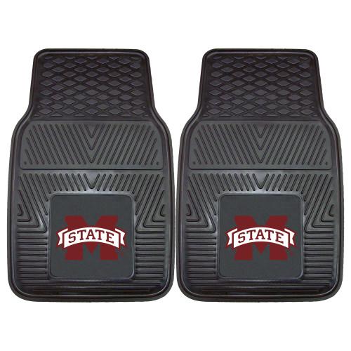 "Set of 2 Black NCAA Mississippi State University Bulldogs Car Mats 17"" x 27"" - IMAGE 1"